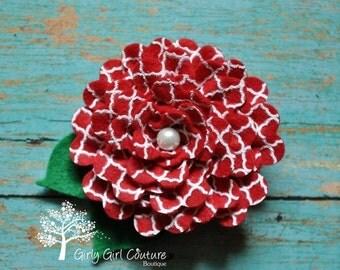 SUMMER SUPER SALE Red Quatrefoil Rose Felt Flower Clip