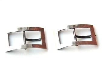 Arts and Crafts Sterling Silver Hand Hammered Belt Buckles Pair