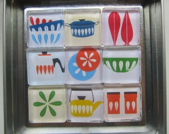 Mid Century Modern Themed Refrigerator Magnets, Set of 9 Fridge Magnets with Storage Tin - Catherine Holm images Magnets