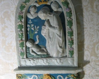 vintage plaster religious plaque featuring Mary, Jesus and angels