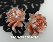 34-00-CA  2pcs Hight Quality Cabbage Rose with Silver Petals - Dusky Pink Rose