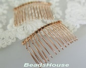 HC-01RG  6pcs Rose Gold Plated Hair Comb W/14 teeth, NIickel  Free