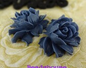 34-00-CA  2pcs Beautiful Cabochon Rose - Navy Blue