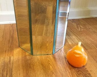 VINTAGE MIRRORED WASTEBASKET, Mirrored Waste Trashcan, Mirrored Basket, Octagon Mirror Waste Paper Basket, Mid Century Glam at Modern Logic