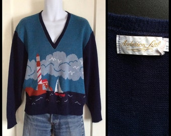 Vintage 1970's Nautical Picture Scene Sweater size XL V-neck Light House Sail Boat Anderson Little