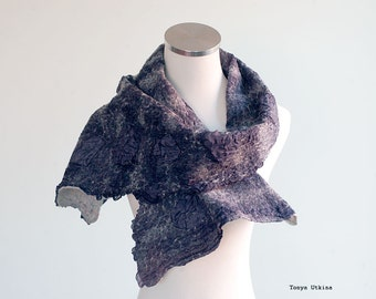 Dark blue purple felted scarf wool silk wide shoulder cover