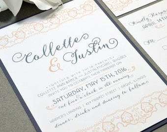 Lace Wedding Invitation Suite - Gray and Peach Wedding Invites - Rustic Wedding Invitations - Romantic Wedding Pocket Invitations - RunkPock