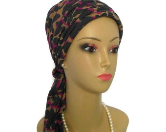 Black Fuchsia Leopard Print Turban Scarf, Soft Jersey Lightweight  Chemo Cover - Cute & Comfortable  Extra Long Ties with Matching Daisy Pin