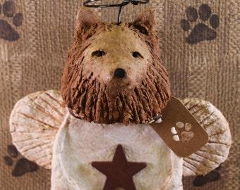 Pomeranian Angel, OOAK, hanmade from paper mache, Pomeranian Angel