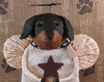 Doxie Angel, OOAK, handmade from paper mache, Daschund Angel