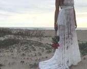 Off White Bohemian Full Lace w/ Train Octopus Infinity Wrap Dress~ Custom Choose Slip Color~ Trestles Champagne~ Bridal, Bridesmaids, Prom
