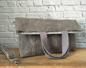 Waxed Canvas Tote, Shoulder Bag, Cross Body Bag, Waxed Canvas, Foldover Tote