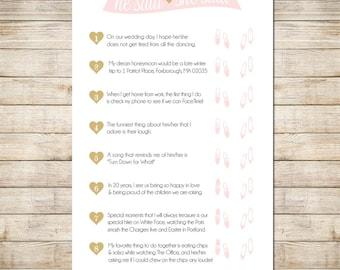 Bridal Shower - He Said She Said Gold, Pink-- DIY Custom Printable