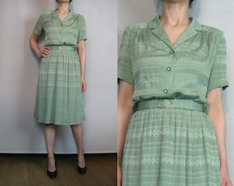 50s SAGE GREEN Vintage Antique Green Southewest Navajo Diamond Stripes Shirtwaist Midi Belted Dress with Belt Small Medium 1950s