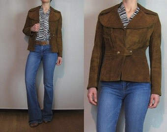 70s Cropped SUEDE HUGE COLLAR Vintage Tiny Fit Rich Caramel Brown Leather Blazer Jacket  xxs xs Small 1970s