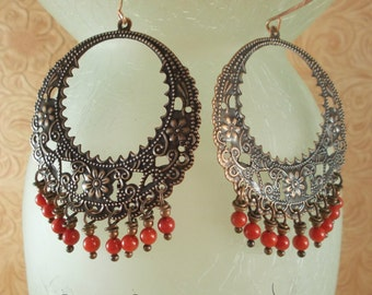 Gypsy Cowgirl Earrings - Copper Floral Rings with Red Coral