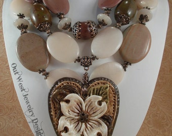 Cowgirl Necklace Set Western Statement - Chunky Pink Aventurine and Brown Jasper - Dogwood Heart