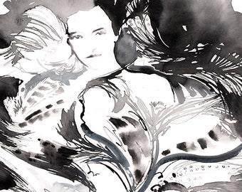 Original Watercolour, Original Fashion Illustration,  Masquerade Ball, Fashion Feathers, Fashion Sketch, Fashion Wall Art, Fashion Painting,