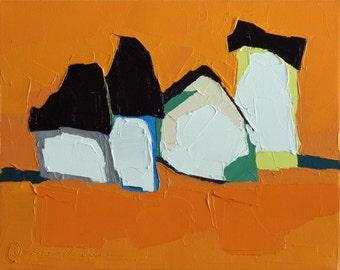 Tangerine Dreams- Oil Painting, 8x10, On Canvas, Original Landscape Painting- Farmhouse, Barn