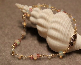 Ethiopian opals, pink topaz and and 14K gold filled bracelet from EvyDaywear