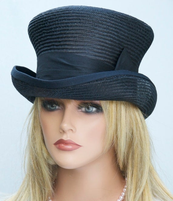 Women's Black Top Hat, Derby Hat, Formal Hat, Victorian English Riding Hat, Mad Hatter, Elegant hat, Dressy hat, Black Steampunk hat funeral
