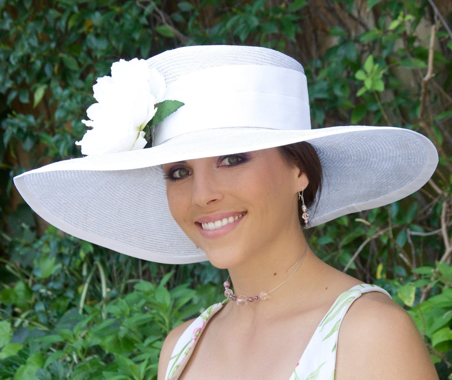 Ladies white hat derby hat church hat white wedding hat for Dress hats for weddings