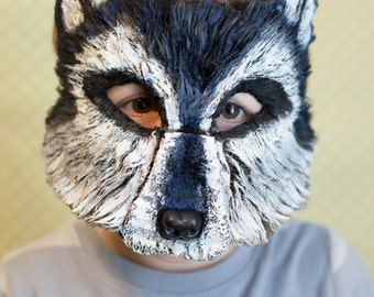 Child Mask, Big Bad Gray Wolf Mask, werewolf mask, wolf costume,  animal mask, animal costume, grey wind direwolf mask
