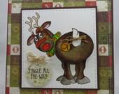 Handmade Card, Greetings, Gift, Christmas, Winter, Art Impressions, Reindeer Jingle -  Handmade Greeting Card