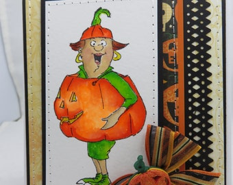 Handmade Card, Greetings, Gift, Fall, Halloween, Occasions, Art Impressions, Halloween Pumpkin - Handmade Greeting Card Watercolored