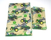 John Deere green tractors baby boy soft blanket and 3 matching burp cloths, warm flannel and minky dot baby gift set, burp clothes, newborns