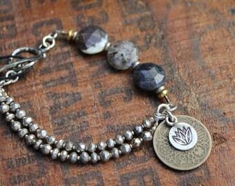 Lotus Bracelet Sterling Silver Pyrite & Gemstones