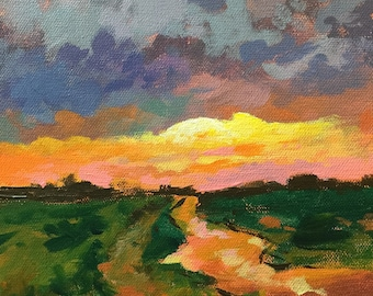 "Original Acrylic Abstract landscape painting- Storm in the making - 8"" x 8"""