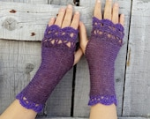 Purple Fingerless Gloves, Crochet Arm Warmers, Womens Crochet Gloves, Purple Wrist Warmers, Fingerless Mittens, Lavender Knit Gloves
