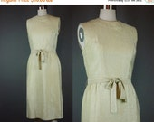 """40% OFF 60s Gold Dress Vintage 1960s Metallic Lame Party Cocktail Sleeveless Holiday M B 36"""""""