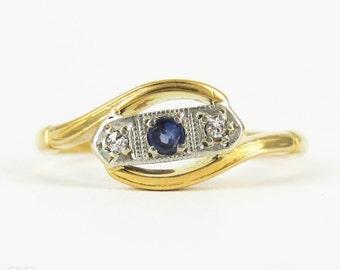 Vintage Sapphire & Diamond Ring, Three Stone Gem Set Bypass Design Ring. Art Deco, 22 Carat Gold and Platinum.