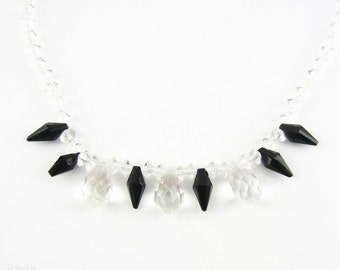 Vintage Crystal Necklace. Black and Clear Glass Necklace, Circa 1930s.