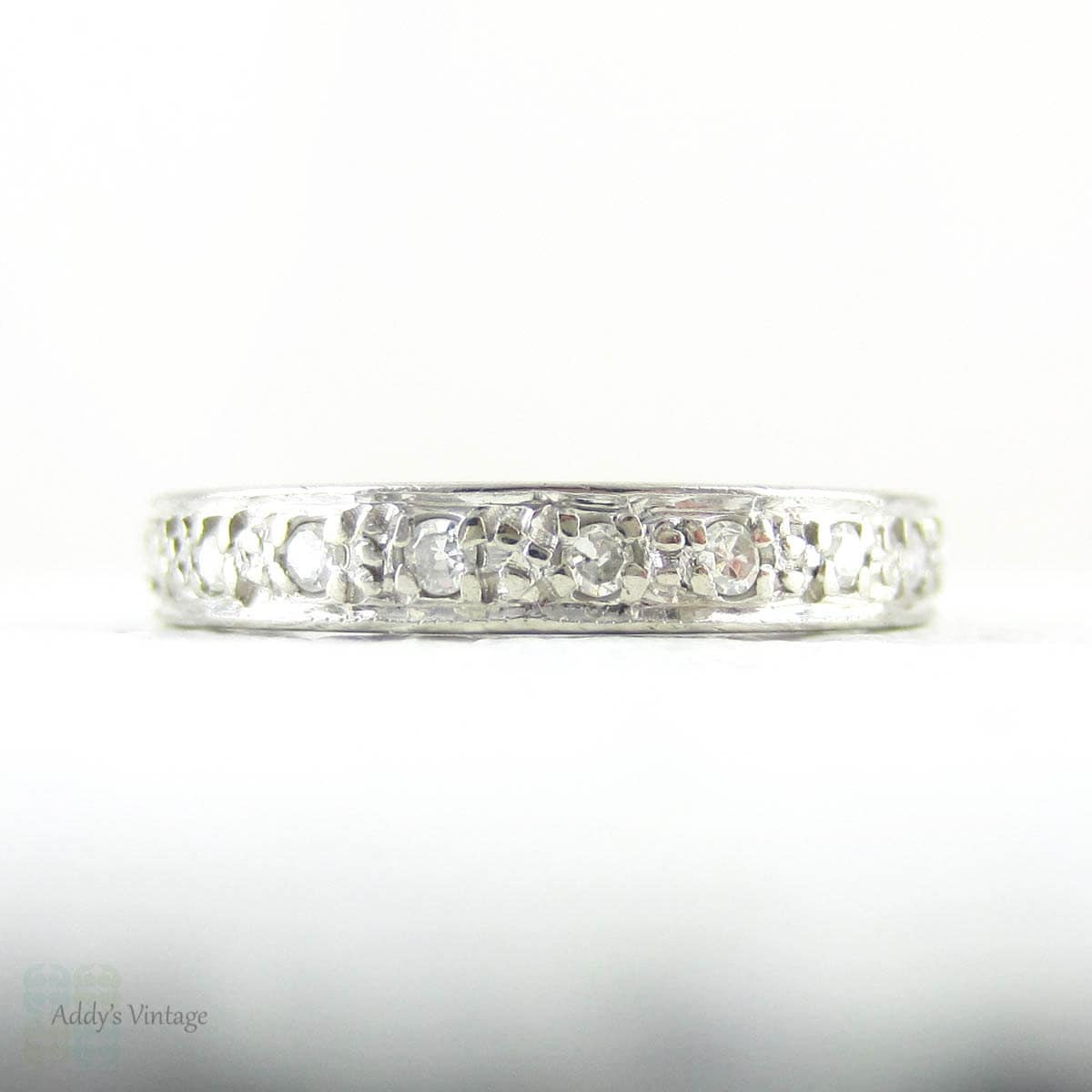 Art Deco Diamond Wedding Ring Bead Set Diamond Eternity By Addy