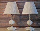 Vintage Mid Century Hobnail Milk Glass Vanity/End Table Lamps, Perfect Working Condition, Set of Two.
