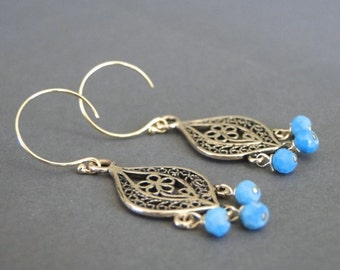 Turquoise Earrings / Jewelry / Vintage Bronze Repousse Earrings with Turquoise / 14k Gold Filled Earrings / Accessories / Gift for Her