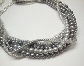 Light grey dark grey pearl  silver chain clear bead chunky twisted statement necklace