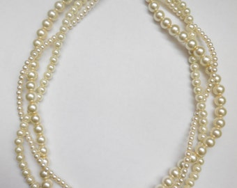 Ivory cream pearl braided twisted chunky statement necklace