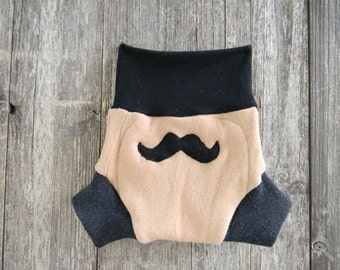 Upcycled Wool Soaker Cover Diaper Cover With Added Doubler Beige ,Gray & Black With Mustache Applique LARGE 12-24M Kidsgogreen