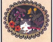 Wool Applique Pattern, Tuxedo's Garden, Penny Rug, Wool Candle Mat, Bonnie Sullivan PATTERN ONLY