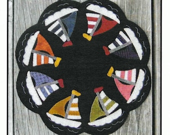 Wool Applique Pattern, Sail Away, Wool Candle Mat, Beach Decor, Cottage Decor, Sailboat, Table Mat, Plays With Wool Designs, PATTERN ONLY