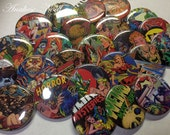 "Horror Comic Buttons, 1"" Buttons, 1.5"" Buttons, Comic Pins, Comic Buttons, Comic Parties, Comic Party Favors, Comic Lovers, Comic Pinbacks"