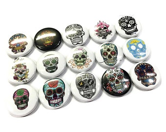 "Sugar Skull Magnet, 1"" Button Magnet, Dia de los Muertos Magnet, Day of the dead Magnet, Sugar Skull Button, Sugar Skull Party Favor, Skulls"