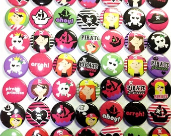 """Girly Pirate Magnet, 1"""" Button Magnet, Pirate Party, Girl Pirate Button, Girl Pirates, Pirate Party Favors, Pirate Magnet, Pirate Gift"""