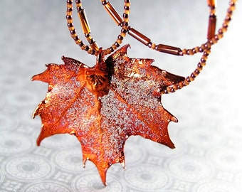 Genuine Maple Leaf Necklace Iridescent Copper Maple Leaf Pendant Necklace Fall Fashion Autumn Necklace Botanical Nature Rustic Necklace