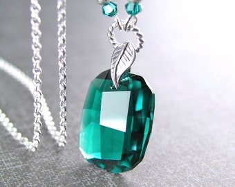 Swarovski Crystal Emerald Necklace Sterling Silver May Birthstone Emerald Pendant Necklace Emerald Green Crystal Necklace