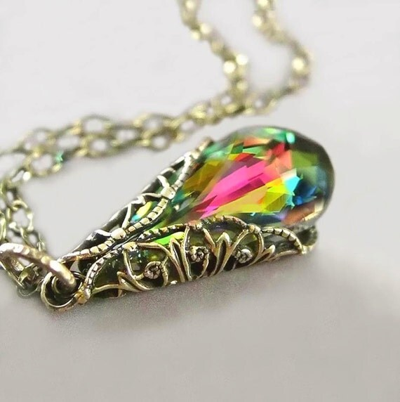 Pink Green Crystal Necklace, Swarovski Necklace, Teardrop Necklace, Colorful Pendant Necklace, Antique Gold Brass Chain, Victorian Jewelry